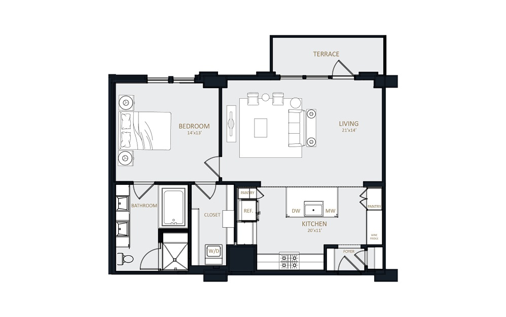 A3 - 1 bedroom floorplan layout with 1 bath and 990 square feet.