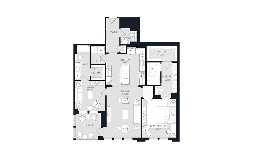B1 - 2 bedroom floorplan layout with 2.5 baths and 1471 square feet.