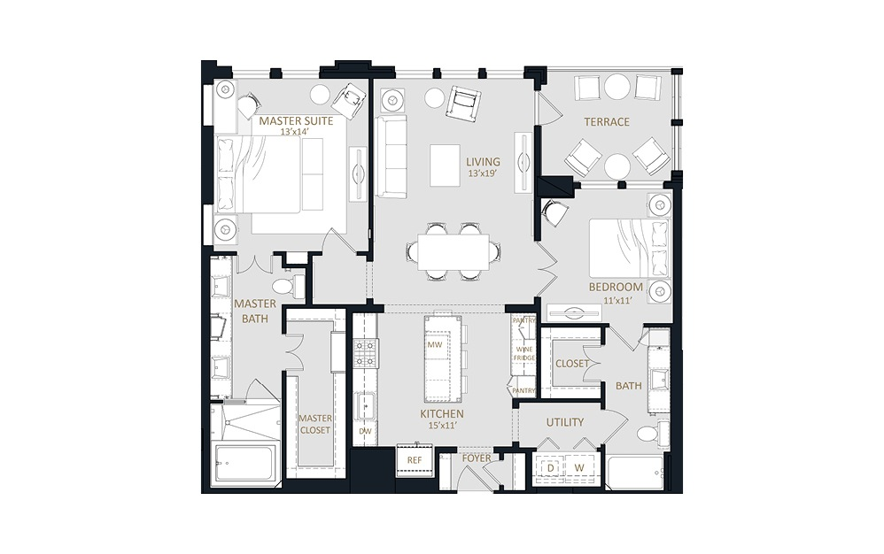 B2 - 2 bedroom floorplan layout with 2 baths and 1328 square feet.