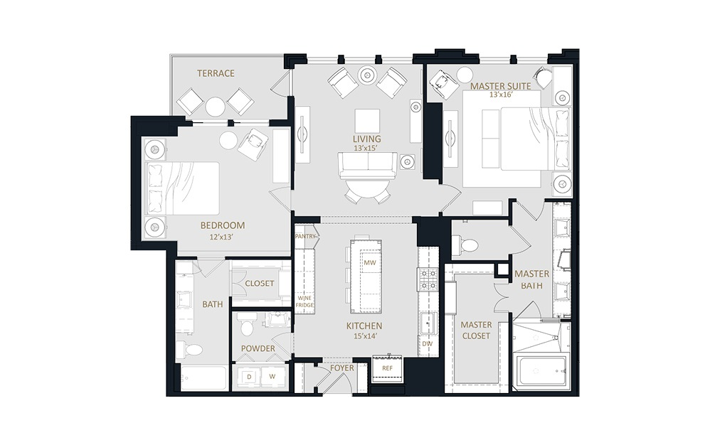 B3 - 2 bedroom floorplan layout with 2.5 baths and 1432 square feet.