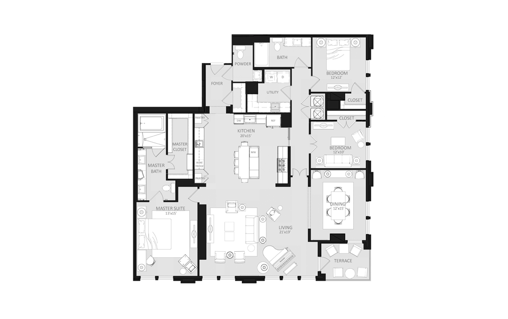 C1 - 3 bedroom floorplan layout with 2.5 baths and 2274 square feet.