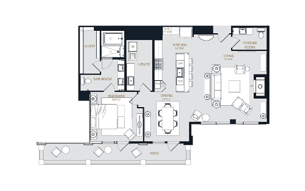 PH1 - 1 bedroom floorplan layout with 1.5 bath and 1448 square feet.