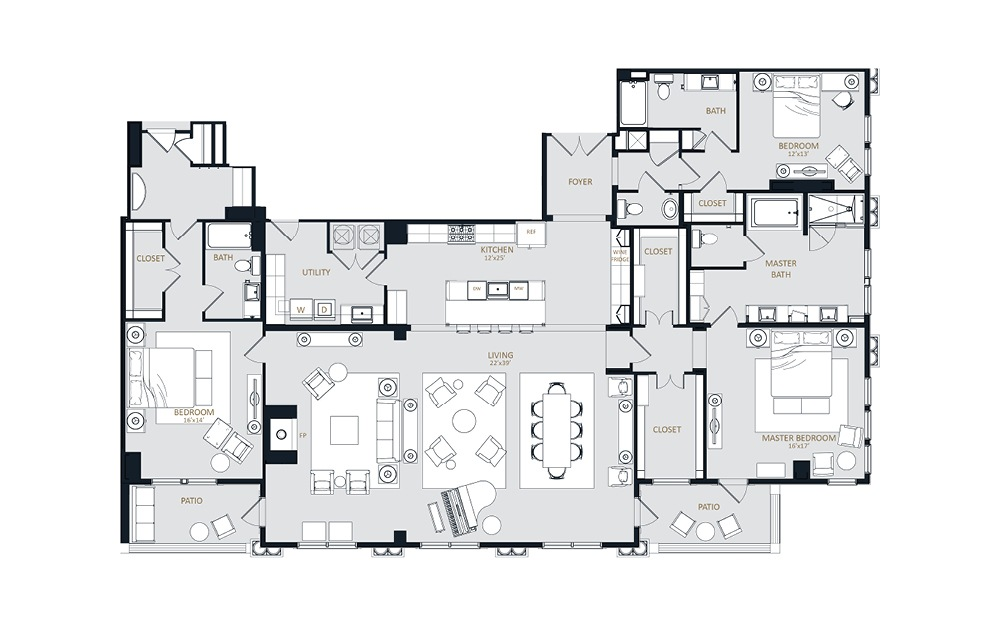 PH2 - 3 bedroom floorplan layout with 3 baths and 3282 square feet.