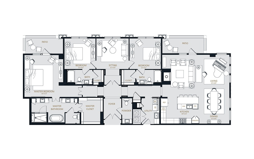 PH4 - 3 bedroom floorplan layout with 3.5 baths and 2528 square feet.