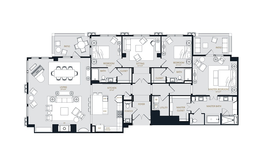 PH6 - 3 bedroom floorplan layout with 3.5 baths and 2709 square feet.