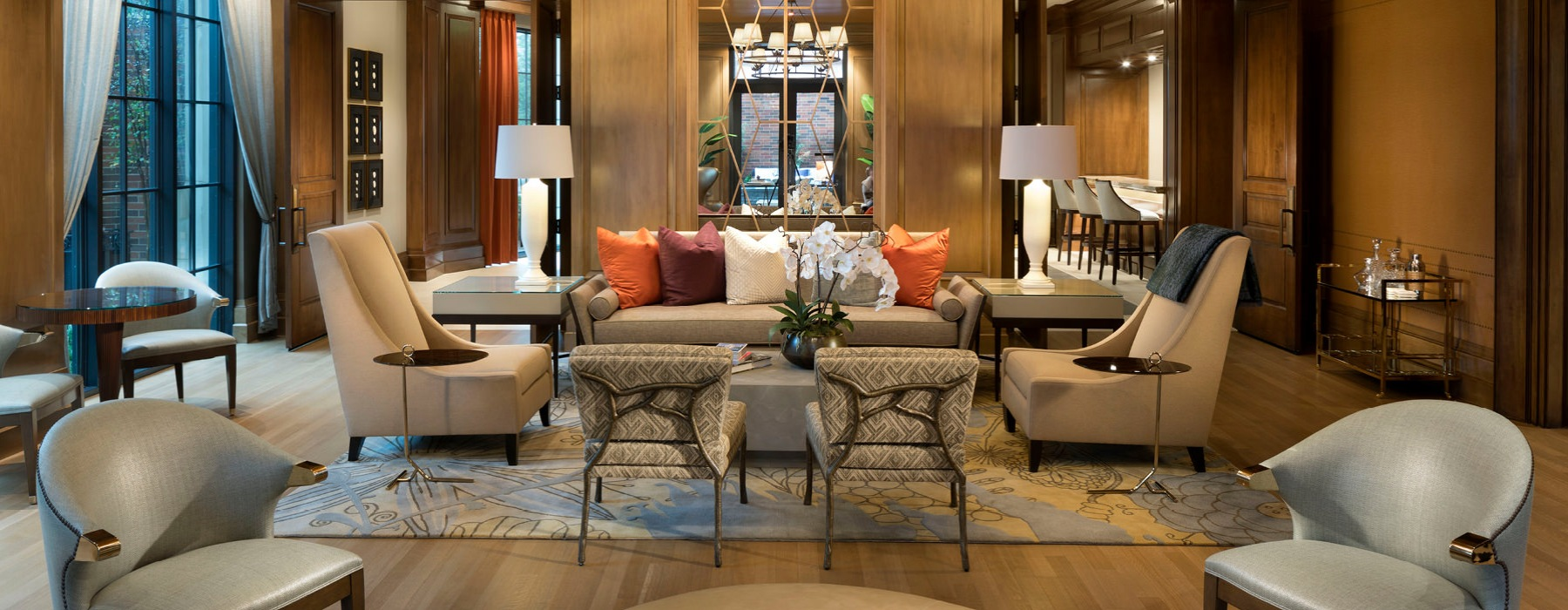 Lobby has plush seating with extravagant touches