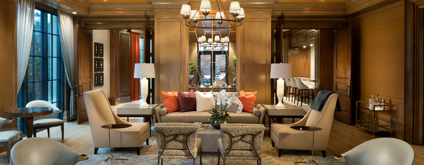Clubhouse features plush seating and exquisite details